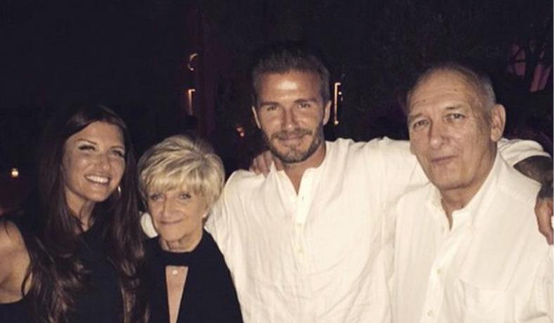 David Beckham i njegov otac Ted (desno)