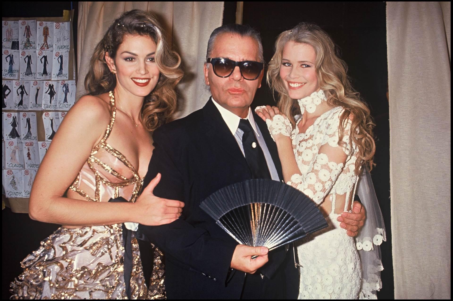 Cindy Crawford, Karl Lagerfeld, Claudia Schiffer