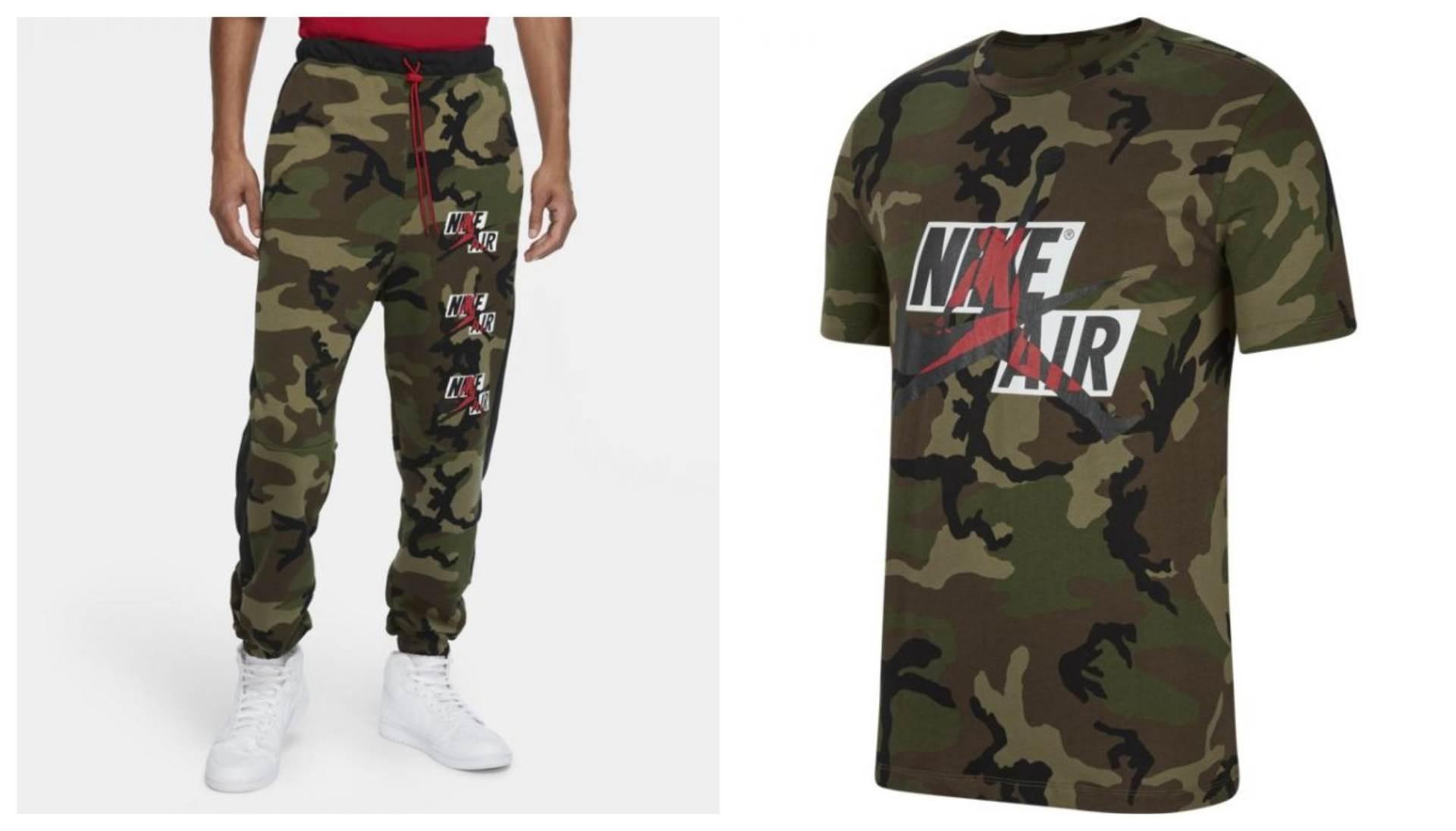 Nike Jordan Classics Camo muške hlače, the athlete's foot, 299,95 kn; Nike Jordan Jumpman Classics Camo, muška majica, zelena, the athlete's foot, 209,97 kn